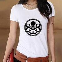 Captain america logo hydra verano blanco delgado estilo de impresión gráfica Mujeres de la camiseta Camiseta Ropa Swag Tee Top Regalo Impreso música
