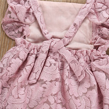 0-24M Pink Backless Baby Girls Lace Dress