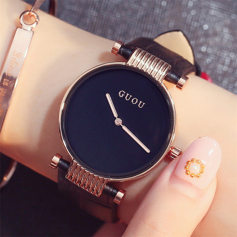 GUOU relojes mujer Ultra Thin Dial Minimalist Watch Women 2018 Luxury Brand Fashion Dress Ladies Quartz Watches with Gift Box kimio ultra thin women s bracelet watch ladies stainless steel dress watches with gift box relojes mujer relogios montre femme