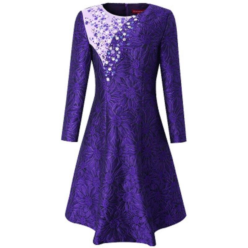 Vêtements Ligne Nouveau Robe Robes Longueur Violet Femmes Printemps Un Rue Genou Taille Piste Vintage Perles Pourpre Plus Partie 2019 PCAwAR
