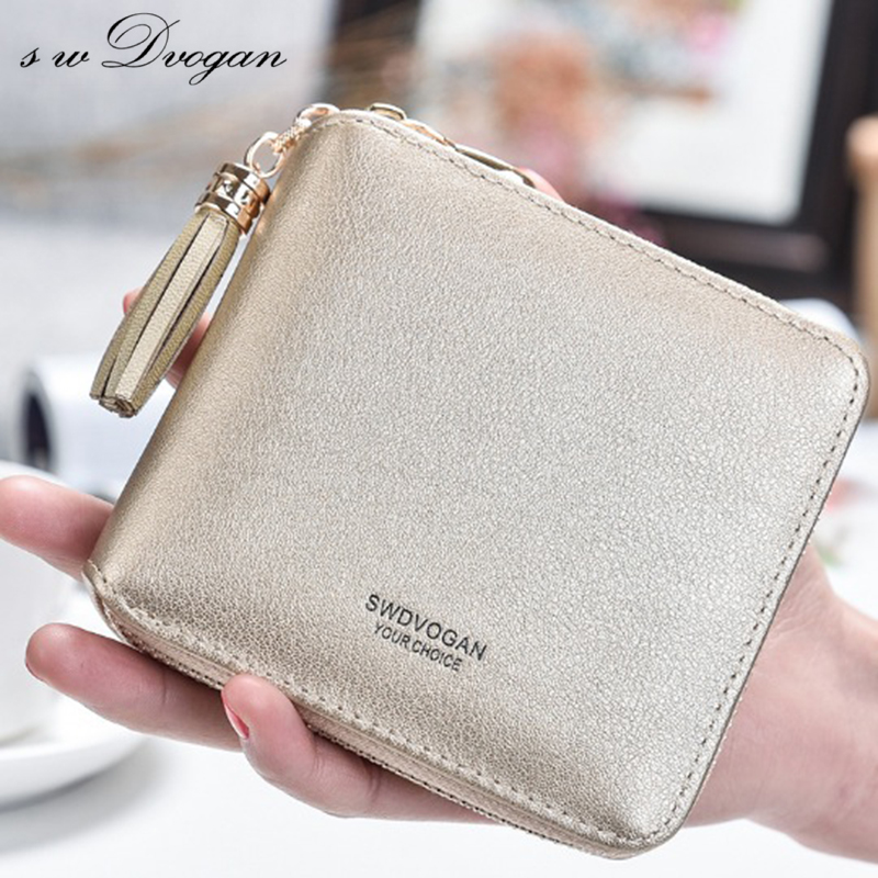 swDvogan Female Small Wallets Women Tassel Pendant Short Money Wallet PU Leather Ladies Zipper Coin Purse Fashion Card Holders