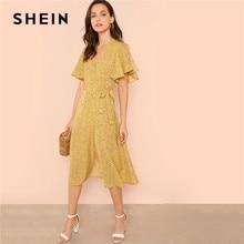 616dfc78d3 SHEIN Ginger Ruffle Cuff Knot Side Surplice Wrap Dress Vacation Butterfly  Sleeve High Waist Long Dresses Women Summer Dress