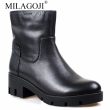 MILAGOJI Woman Genuine Leather Ankle boots Wool Fur Boots Full Grain Leather Long Plush Snow Boots Women High Quality Heel Shoes(China)