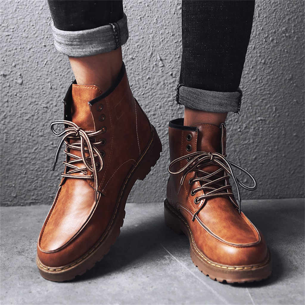 2019 Spring New Arrivals Fashion Enkellaarsjes Mannen Locomotief Martin Laarzen Dragen Firm Vintage Winter Schoenen Army Black