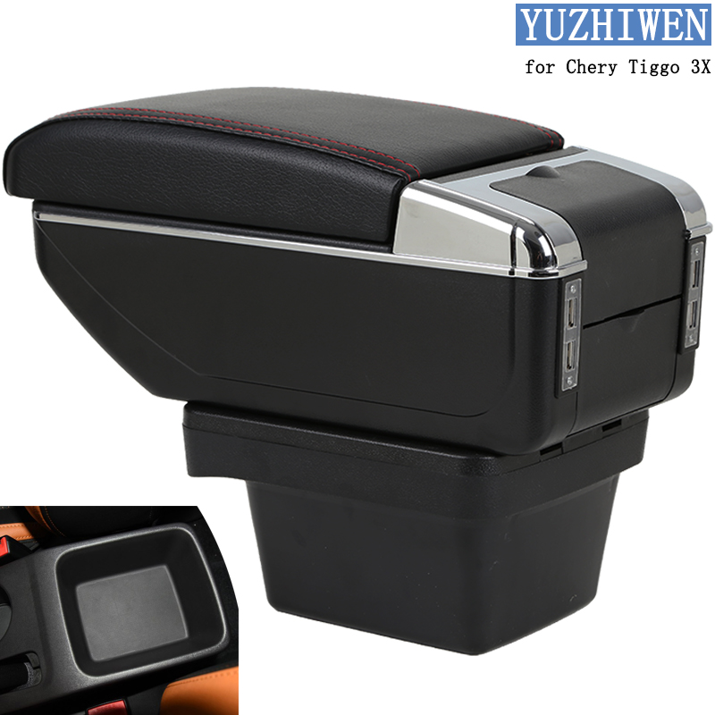 For Chery <font><b>Tiggo</b></font> 3X Armrest Box <font><b>Tiggo</b></font> 3X Universal Car Central Armrest Storage Box cup holder ashtray modification accessories image