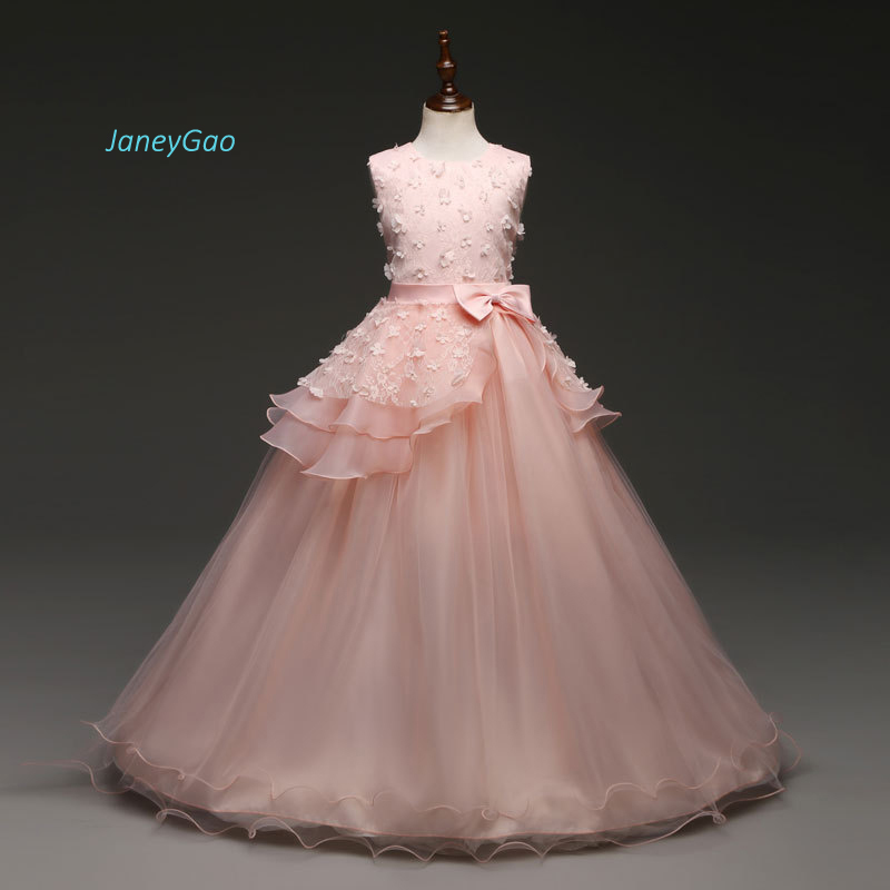 JaneyGao   Flower     Girl     Dresses   Pink First Communion   Dresses   Elegant With Beading Appliques Bow Formal Kids Gown For Wedding Party