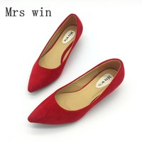 Red Spring Autumn Women S Low Heel Pumps Flock Plain Pointed Toe Shallow Slip On Ladies