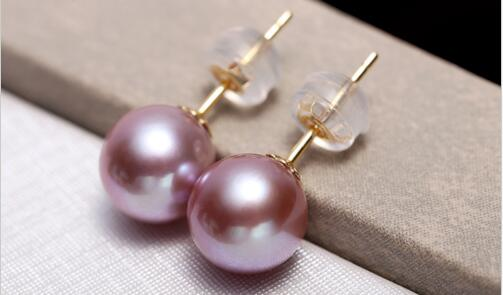 Charmante paire de boucles d'oreilles en perles de lavande rondes AAA 10-11mm>>> bijoux femmes filles livraison gratuite