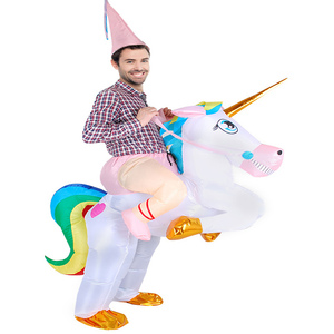 Adult Inflatable Unicorn Costume Halloween Costume For Women Men Party Fantasia Fancy Dress Inflatable Suit Jumpsuit(China)