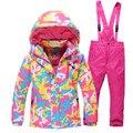 Дети Верхняя Одежда Теплое Пальто Спортивный Лыжный Костюм Дети Одежда Устанавливает Водонепроницаемый Ветрозащитный Мальчики Зимние Куртки For4-14T