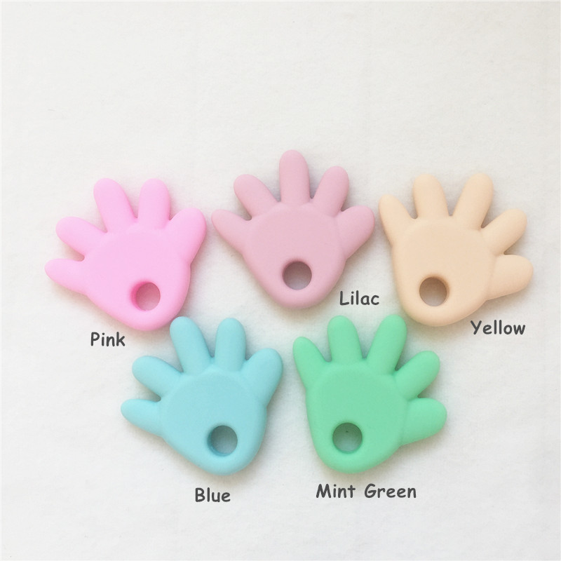 Chenkai 10PCS BPA Free Silicone Little Hand Teether Pendant Nursing DIY Cute Pastel Color Baby Pacifier Dummy Toy Accessories in Baby Teethers from Mother Kids