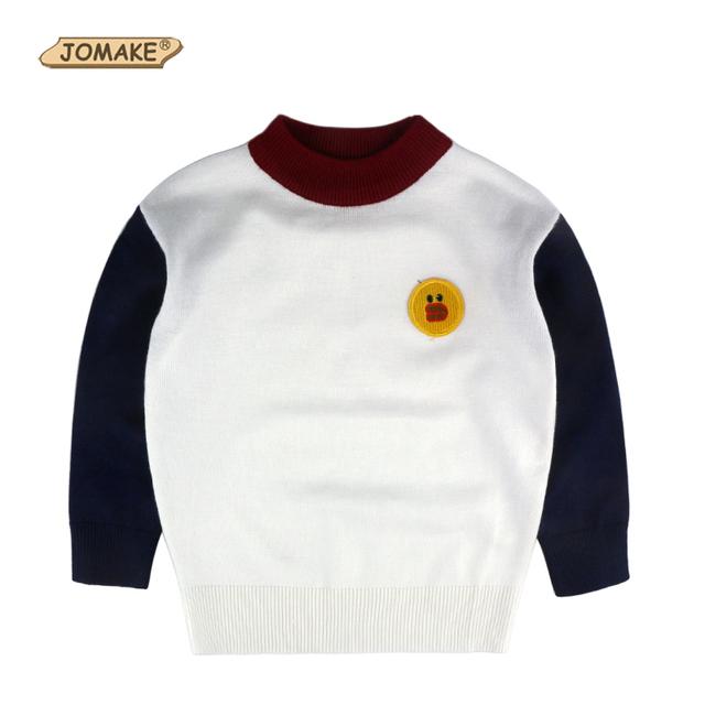 Bebé Muchachos Suéter Suéter Nuevo Color de Contraste de Moda de Dibujos Animados Niño Niña de Punto de Algodón Para Niños Ropa Para niños