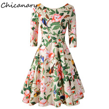 Chicanary 3/4 Sleeve Length Vintage Swing Dresses Women 1950s Party Tea Dress Plus Size