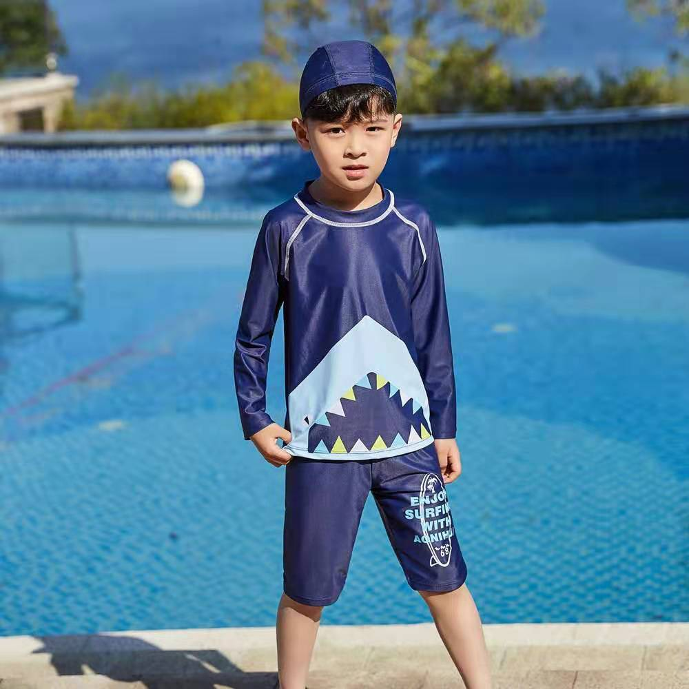 Children Boys Cute Swimming With Trunks Swimming Bath Suit Boy Kids Sportswear Long Sleeve Two-Piece Suits