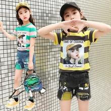 kids clothes Girls set 2019 new summer sets 4-12 years girls cotton suit printing cotton T-shirt  denim shorts children's sets недорого