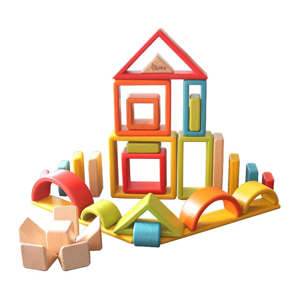 32 pièces Blocs de Construction En Bois Couleur Forme Cognition L'imagination Développement Montessori Jouets Éducatifs Cadeau pour Enfants Enfants