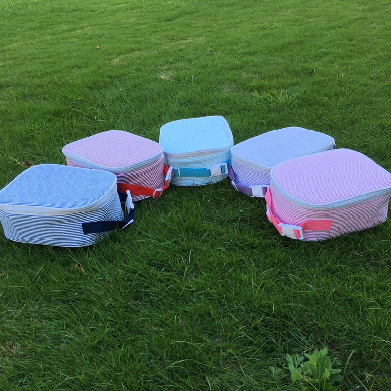 Wholesale Blanks New Design Seersucker Lunch Bag with Handles Seersucker Material Cooler Bag DOM106344