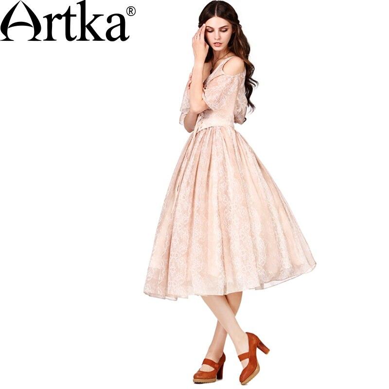49c6a16f3639 Artka Для женщин новые летние 2 цвета с принтом шифоновое платье О-образным  вырезом Лепесток рукавом шнурок талии широкий подол платья LA18152X