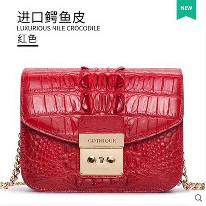 2018 gete hot freeshipping new alligator skin women bag wrapped Thai alligator women handbag women flap