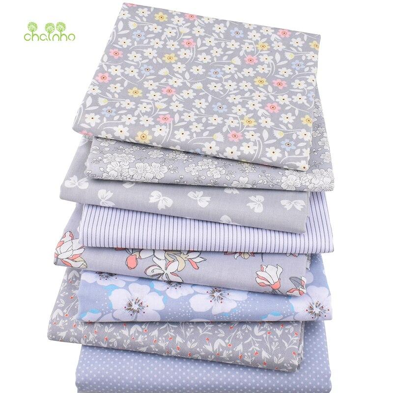 8 unids/lote, nueva tela de algodón de sarga Patchwork tela de tejido gris grasa cuarto paquete hecho a mano DIY acolchado costura Material textil
