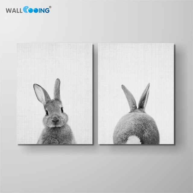 wall cooing Canvas painting nursery wall art animal poster HD print kids bedroom decoration draw girl baby cute bunny pattern