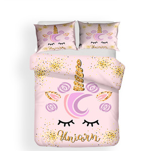Image 2 - Bộ đồ giường Đặt 3D In Duvet Cover Bed Thiết Unicorn Trang Chủ Dệt May cho Người Lớn Sống Động Như Thật Chăn Mền với Gối # DJS07