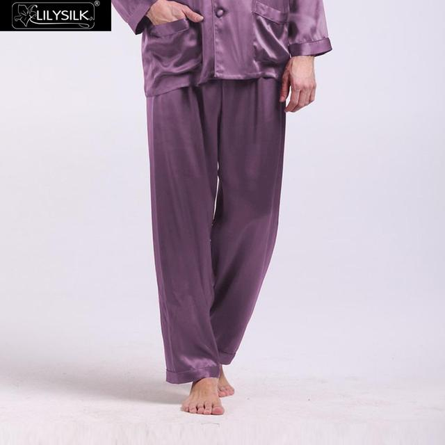 Lilysilk Silk Pajamas Pants Sleep Wear Bottoms 22 Momme Men Pyjamas Sleepwear Home Brand Clothing Violet Long Trousers Winter