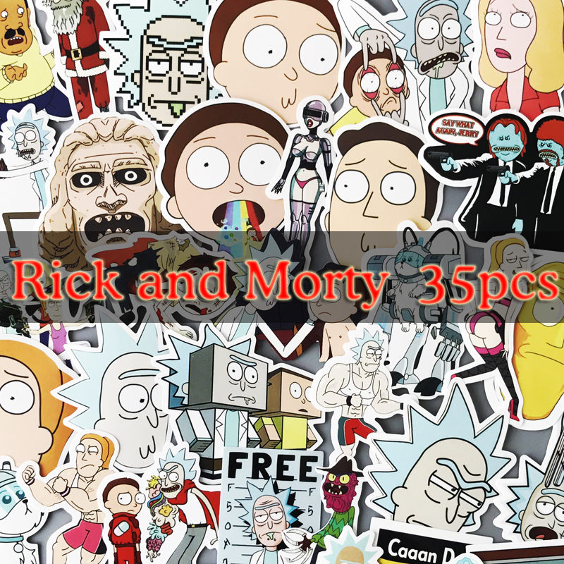 35Pcs/bag American Drama Rick and Morty Funny Stickers For Car Laptop Bicycle Motorcycle Notebook Waterproof car covers dulisimai bicycle motorcycle waterproof bag for iphone 5 5c 5s black