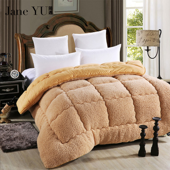 JaneYU Quilts cotton patchwork duvets Australian lambs wool Warm camel quilt Thicken warm duvets winter comforter patchwork