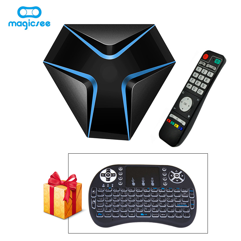 Magicsee iron Amlogic S905X Quad Core Android 6.0 WiFi TV BOX 2G 16G Smart TV Box with HDMI 4K Set Top Box with i8 keyboard