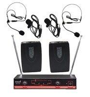 STARAUDIO Pro PA DJ 2CH VHF Wireless Stage Church Club Karaoke Party Dynamic Lavaliere Headset Microphone