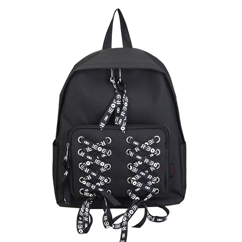 65570708b91d Fashion Nylon Backpack Bag Modern Girls  Bag New Design Lovely Shoelace  Design Girls Schoolbag Woman s Bag-in Backpacks from Luggage   Bags on ...