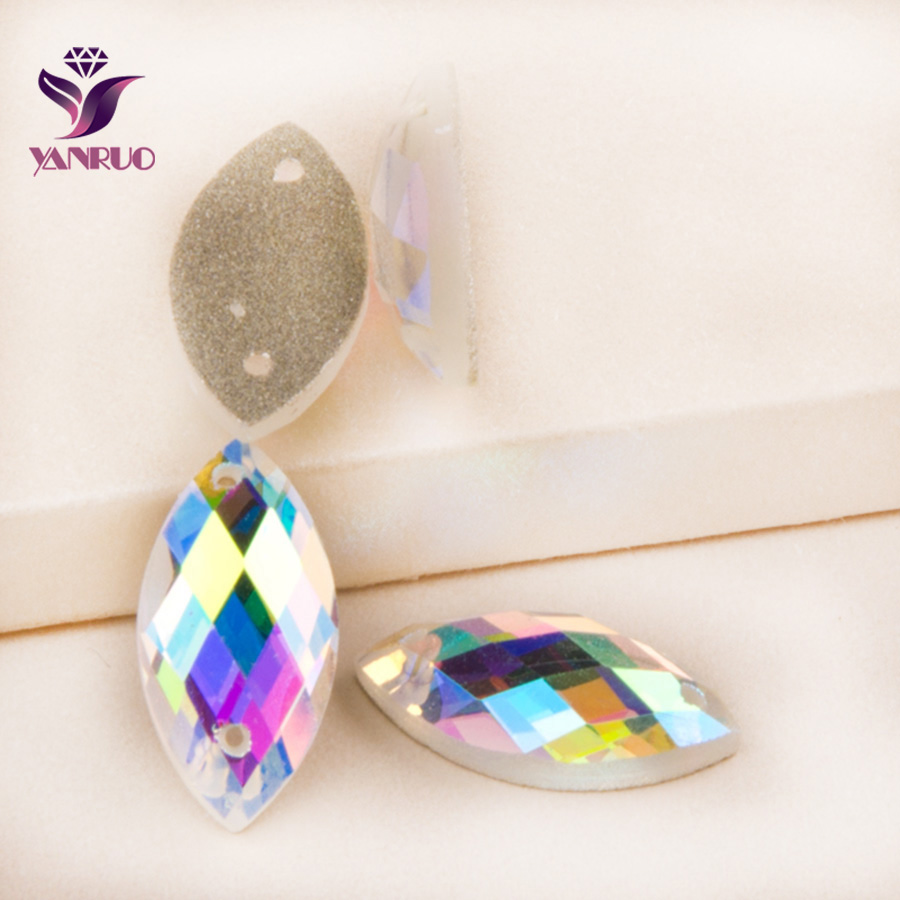 YANRUO Navette Glass Crystals Sewing for Clothes Horse Eye 2 Holes Crystal Beads