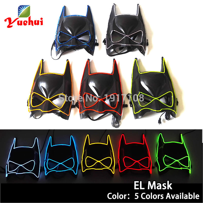 EL wire Halloween Mask 10 Color Mask Flashing Festival LED Neon Glow light Party Mask dance Carnival Masks accessories