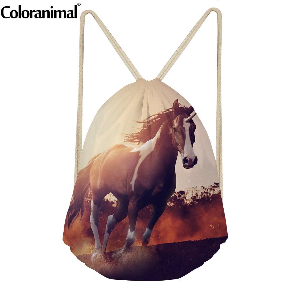 Coloranimal Teenager Girls Beach Drawstring Bag Cool 3D Animal Crazy Horse Print Children Softback Bag Storage Bag Men Sack Bags