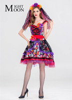 MOONIGHT Day Of The Dead Sexy Skeleton Colorful Costume Ghost Bride Vampire Adult Women Muertos Fancy