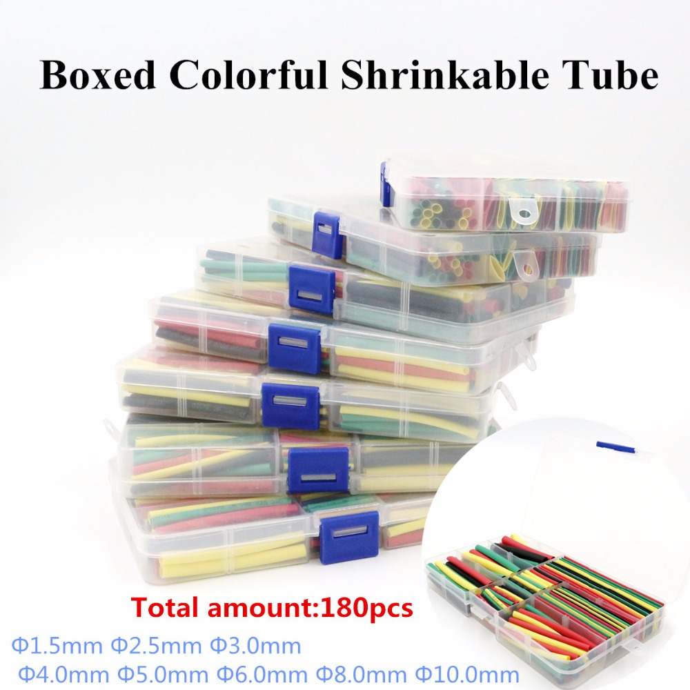 180Pcs 1.5MM 2.5MM 3MM 4MM 5MM 6MM 8MM 10MM Assortment Ratio 2:1 Polyolefin Heat Shrink Tube Tubing Sleeving Wrap NN1-NN11 200meter set 3 5mm pvc heat shrink tube ratio 2 1 sleeving for insulating connector
