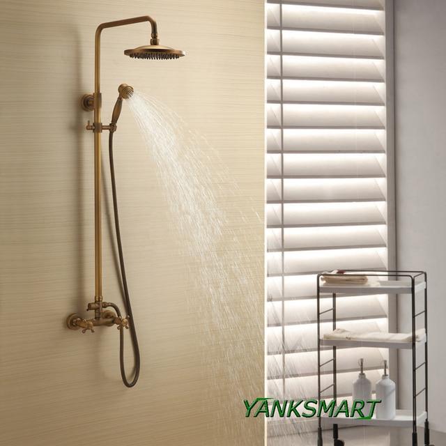 YANKSMART Flexible Vintage Brass Wall Mount 8 Inches Shower Head + Control  Valve Hand Sprayer Dual