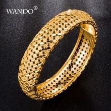 WANDO Luxury Ethiopian open Bangles For Women 24k Gold Color Dubai Bracelet African/Arab/Kenya/Middle East Wedding WB24