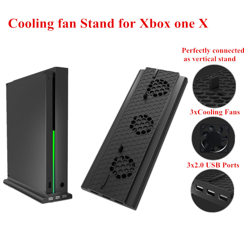 Game Player black Vertical Bracket Stand Holder with 3 Cooling Fan Plastic Holder Cooler with 3 USB Ports for xbox one x console image