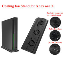 Game Player black Vertical Bracket Stand Holder with 3 Cooling Fan Plastic Holder Cooler with 3 USB Ports for xbox one x console