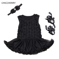 השחור 3D רוז נסיכה בייבי שמלת ילדה טוטו יילוד סט תלבושות סרט & Vestido פיאסטה נעלי Bebe פעוטות מסיבת יום הולדת