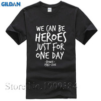 New David Bowie Stardust Graphic T Shirt Metal Rock TShirt WE CAN BE HEROES Cotton T