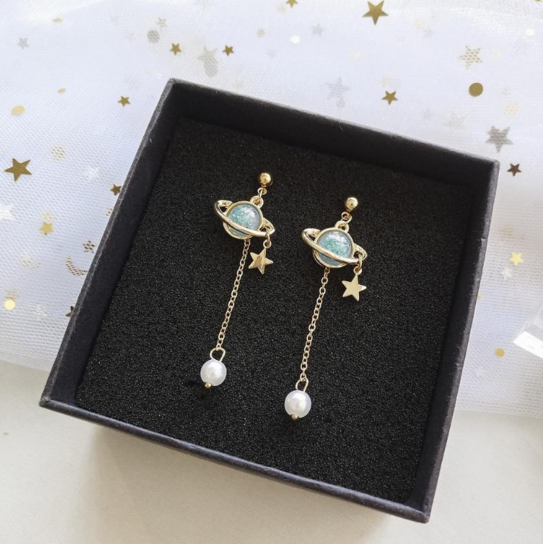 Moon And Star Dangle Earrings