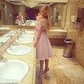 2-20W Pink Scoop Neck Short Women Clothes Vestidos Dresses 2016 Appliques Lace Short Prom Dresses