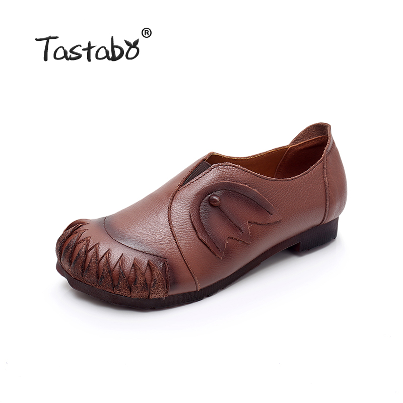 711ae1de5b Tastabo Genuine Leather Flat Shoe 2019 spring Brown Black Women Driving  Shoe Female Moccasins Women Flats Hand Sewing Shoes-in Women's Flats from  Shoes on ...