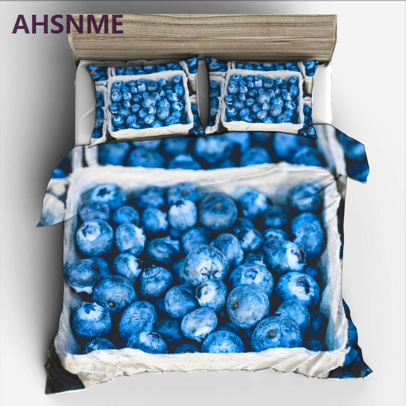 AHSNME A large basket of blueberry covers King Size Bedding set Purple fruit Quilt Cover High