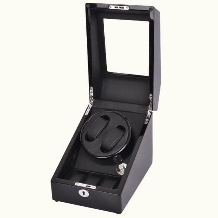 2+3 Black Automatic Watch Winder & Wooden Rotating Watch Box with Self-winding Display