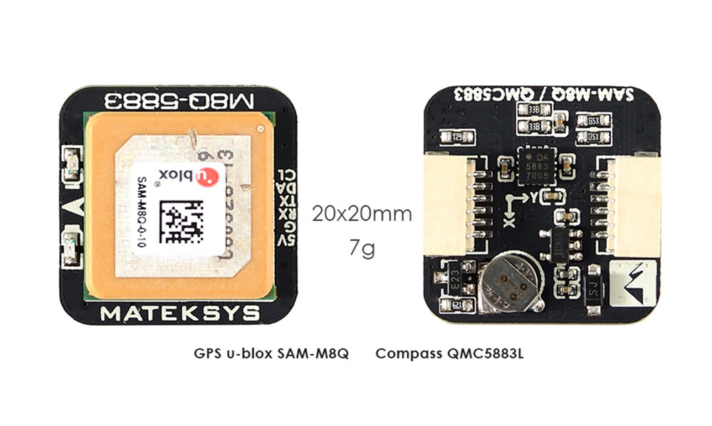 Matek Systems M8Q 5883 Ublox SAM M8Q GPS QMC5883L Compass Module for RC Drone FPV Racing