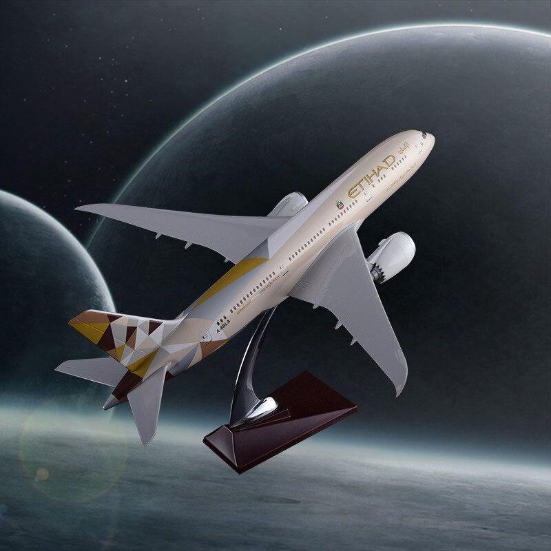 Prenoy 43 cm résine Boeing 787 modèle d'avion Etihad Airways avion B787 Airbus modèle Etihad Stand avion modèle artisanat Collections